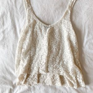 American Eagle Tiered Floral Lace Tank Top